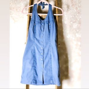 Paneled Blue Denim Halter Dress